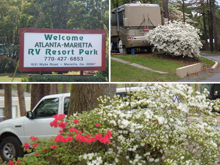 Entrance Signage, RV Site, Campground Flowers